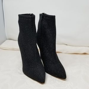 Guess Aspire Black Glitter Booties Ankle Boots
